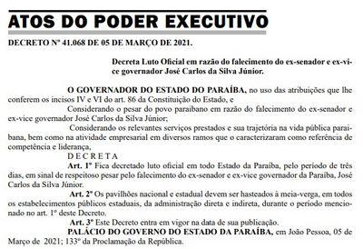 Governador decreta luto oficial pela morte de José Carlos da Silva