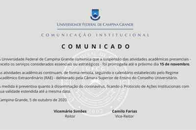 UFCG prorroga suspensão das atividades acadêmicas presenciais