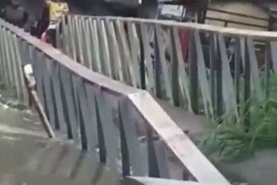 Ponte cede em comunidade de João Pessoa devido às fortes chuvas