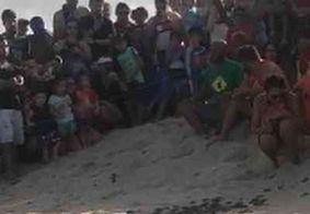 Nascimento de tartarugas marinhas chama atenção de banhistas em praia de JP