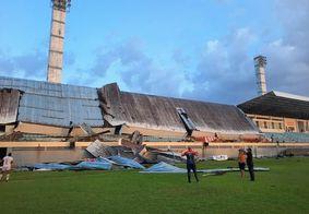 Estrutura de coberta de estádio desaba durante jogo pelo Campeonato Brasileiro