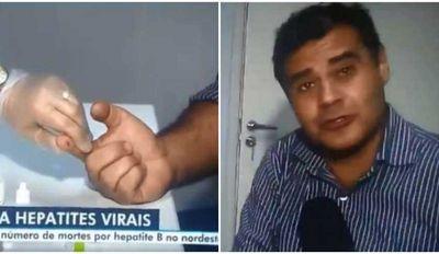 """Jornalista da Globo segura choro ao fazer teste de hepatite em reportagem: """"Uma só picada"""""""