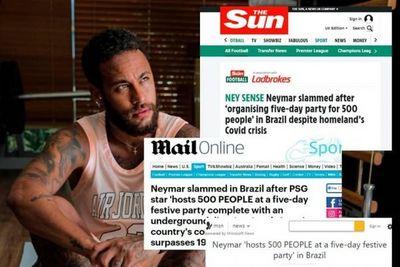 Réveillon de Neymar para 500 pessoas em plena pandemia vira notícia internacional