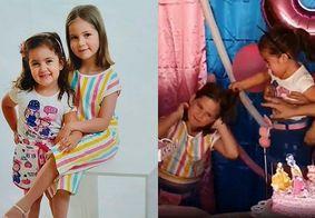 Celso Portiolli recebe Maria Antônia e Maria Eduarda, as irmãs que bombaram na web