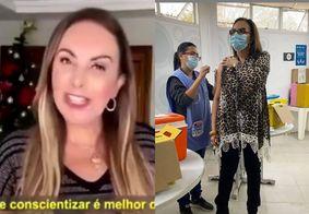 Após vídeo pelo tratamento precoce e contra máscaras, Cristina Mel se vacina contra a Covid-19