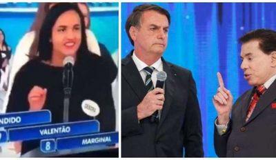 """Mulher chama Bolsonaro de """"bandido, valentão e marginal"""" no 'Jogo das Três Pistas' e ganha R$ 50"""