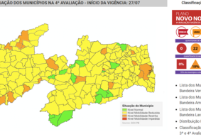 PB tem queda de municípios com bandeira verde; laranja e amarela crescem