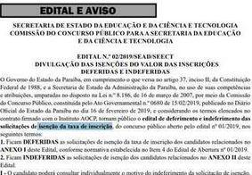 Estado divulga lista de isenções de taxa de inscrição para concurso público de professores