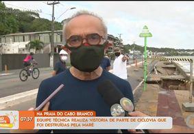 Cícero realiza vistoria em trecho da orla de Cabo Branco destruído pela maré e garante reconstrução da estrutura