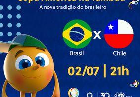 Brasil x Chile, ao vivo e exclusivo, na TV Tambaú