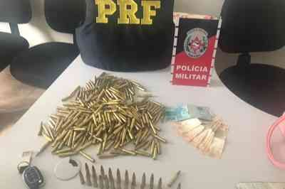 Trio é preso com mais de 300 munições de fuzil de uso restrito das Forças Armadas, em Alhandra