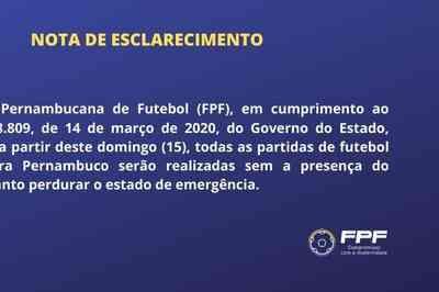 Federação Pernambucana de Futebol informa que os jogos não terão público