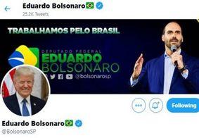 Eduardo Bolsonaro coloca foto de Trump como avatar no Twitter