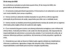 """Governadores do NE vão continuar adotando medidas de prevenção e criticam """"posicionamento agressivo"""" de Bolsonaro"""