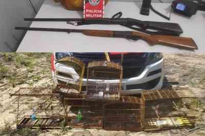 PM apreende duas espingardas e mais de 10 aves silvestres em município paraibano