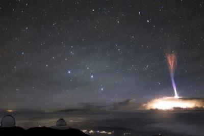 Imagem mostra dois fenômenos raros acontecendo no céu do Havaí