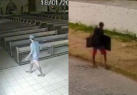 Vídeo mostra momento em que homem invade igreja para roubar TVs, em João Pessoa; veja