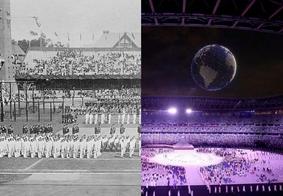 Jogos de Estocolmo, em 1912 (à esq.); jogos de Tóquio, em 2021 (à dir.)
