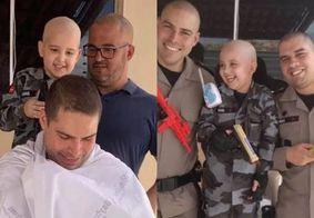 Policiais raspam cabelo em apoio à criança de 5 anos que luta contra o câncer, na PB