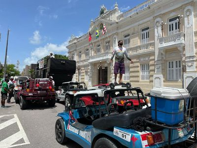 Mobilização realizada em frente a sede do governo