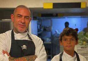 Henrique Fogaça leva filho para vivenciar rotina de uma cozinha em seu restaurante