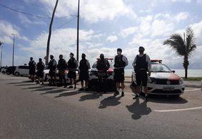 Policiamento durante a 'Operação Independência', na orla de João Pessoa.