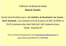 Pazuello convida governadores para ato com a Coronavac nesta segunda (18)
