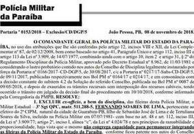 Sargento é expulso da PM por cobrança de propina em blitz de trânsito na Paraíba