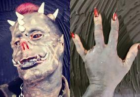 """Tatuador remove dedo, ganha presas e assusta a web: """"Diabão Brasileiro"""""""