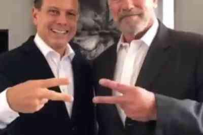 Arnold Schwarzenegger participa de reunião com João Doria sobre Meio Ambiente em SP
