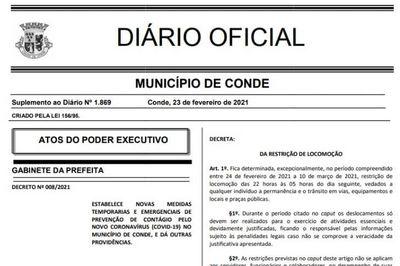 Prefeitura do Conde divulga novo decreto que determina toque de recolher