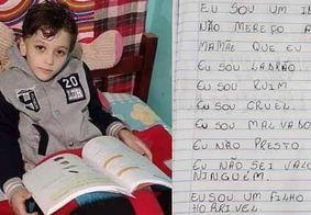 Menino assassinado era obrigado a escrever 'sou um filho horrível'