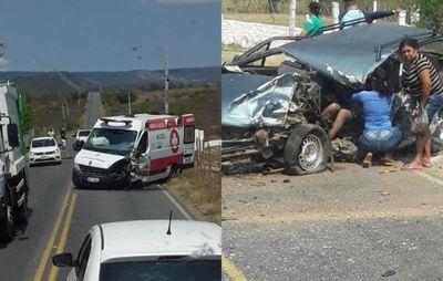 Acidente entre carro e ambulância deixa dois feridos na Paraíba