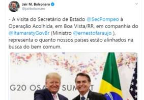 "Bolsonaro elogia Trump por tentar ""restaurar democracia na Venezuela"""