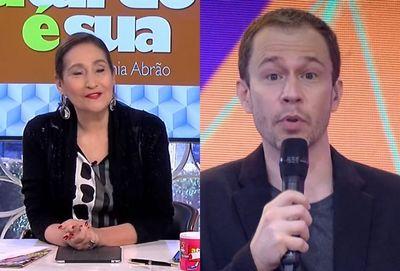 Tiago Leifert alfineta Sônia Abrão durante 'Domingão do Faustão'