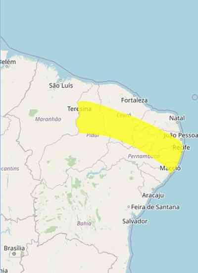 Mais de 180 municípios da PB recebem alerta de perigo potencial de chuvas intensas; veja quais